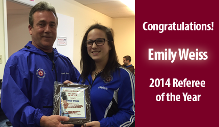 Congratulations Emily Weiss! WSC 2014 Referee Of The Year